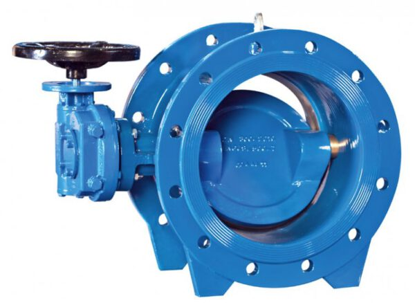 Type 2010 double eccentric butterfly valve with gearbox and handwheel