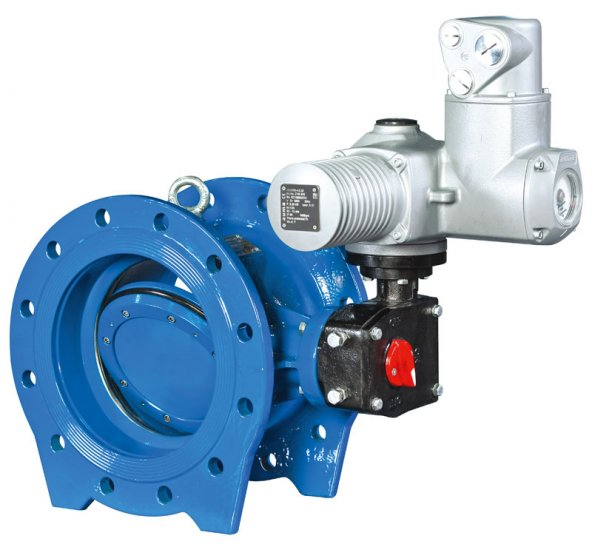 Type 2010 double eccentric butterfly valve operated with electric actuator
