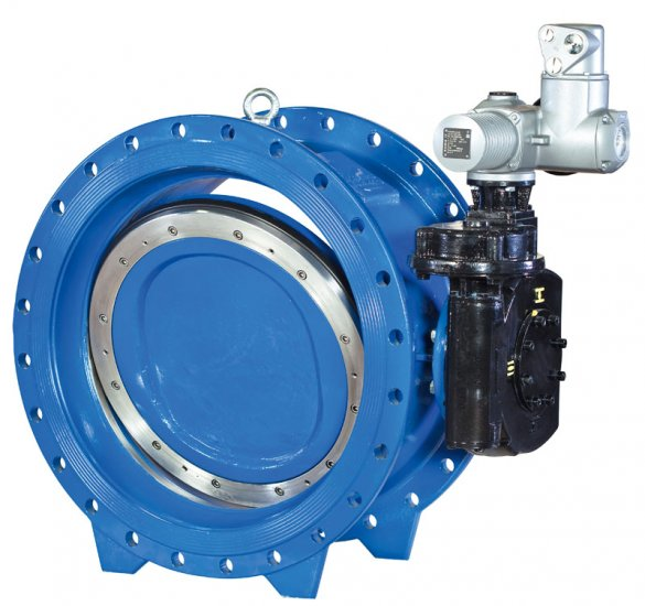 Type 2010 double eccentric butterfly valve with gearbox and electric actuator
