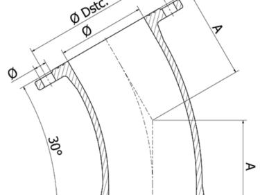 Flanged bend 30º, FFK-30 piece